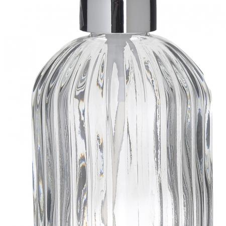 Recipient pentru sapun din sticla transparenta model dungi, inaltime 18 cm diametru 7,5 cm2