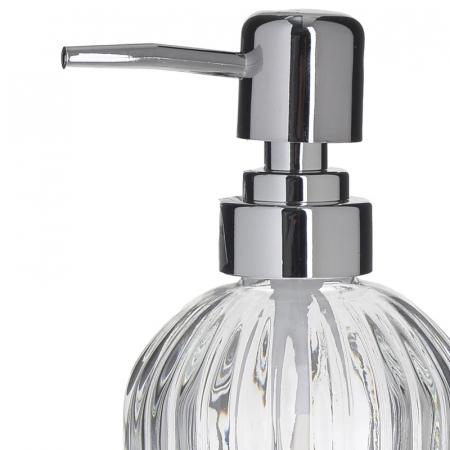 Recipient pentru sapun din sticla transparenta model dungi, inaltime 18 cm diametru 7,5 cm1