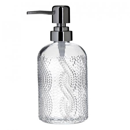 Recipient pentru sapun din sticla transparenta model impletitura, inaltime 18 cm diametru 7,5 cm0