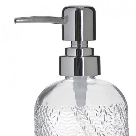 Recipient pentru sapun din sticla transparenta model impletitura, inaltime 18 cm diametru 7,5 cm1