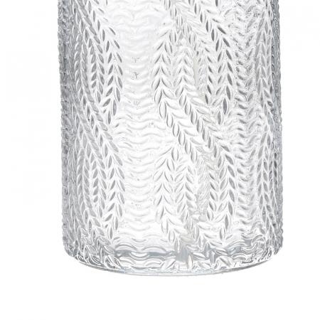 Recipient pentru sapun din sticla transparenta model impletitura, inaltime 18 cm diametru 7,5 cm2