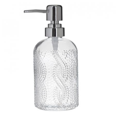 Recipient pentru sapun din sticla transparenta model impletitura, inaltime 18 cm diametru 7,5 cm4