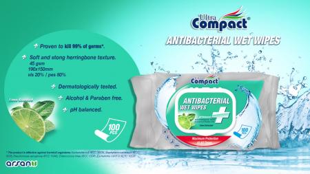 Servetele Antibacteriene umede pentru maini, 100 buc/set, Lime, Dezinfectante, Ultra Compact, fara Alcool sau Parabent2