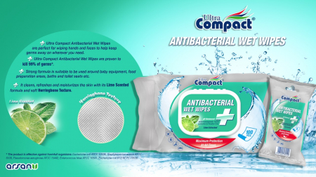 Servetele Antibacteriene umede pentru maini, 100 buc/set, Lime, Dezinfectante, Ultra Compact, fara Alcool sau Parabent3