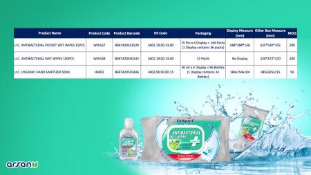 Servetele Antibacteriene umede pentru maini, 15 buc/set, Lime, Dezinfectante, Ultra Compact, fara Alcool sau Parabent3