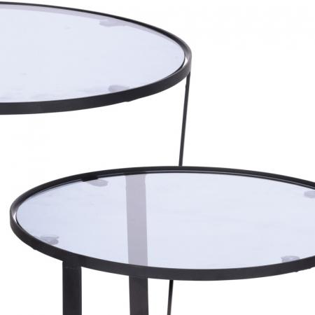 Set 2 mese metal culoarea gri inchis,blat sticla securizata ,dimensiuni 40x44 cm si 45x50cm3