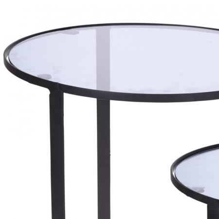 Set 2 mese metal culoarea gri inchis,blat sticla securizata ,dimensiuni 40x44 cm si 45x50cm2
