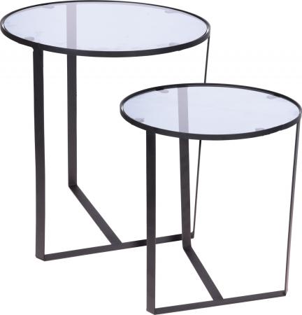 Set 2 mese metal culoarea gri inchis,blat sticla securizata ,dimensiuni 40x44 cm si 45x50cm0