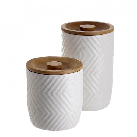 Set 2 recipiente depozitare din portelan cu capac bambus diametru 10 cm si inaltime 10 ,15 cm0