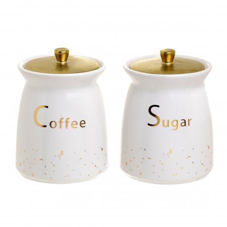 Set 2 recipiente portelan, pentru zahar si cafea, culoare alb cu auriu, diametru 11 cm inaltime 15 cm0