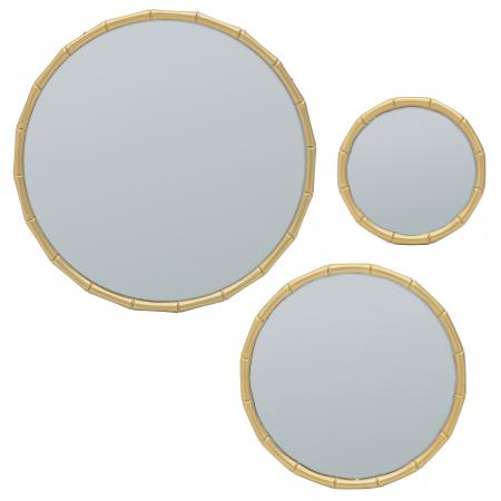 Set 3 oglinzi, rama plastic, culoare aurie, diametru 30cm [0]