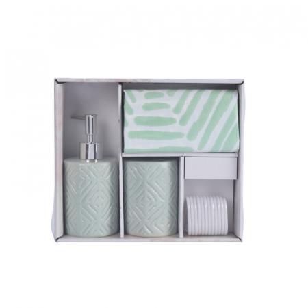 Set 3 piese pentru baie, recipient sapun, pahar periute dinti, ceramica, si perdea de dus cu 12 carlige, Verde [8]
