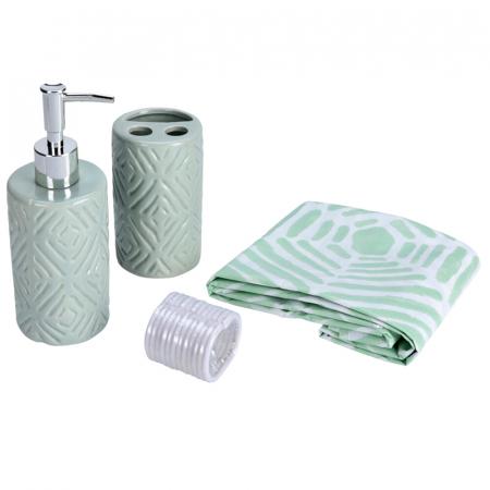Set 3 piese pentru baie, recipient sapun, pahar periute dinti, ceramica, si perdea de dus cu 12 carlige, Verde [0]