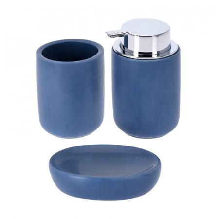 Set 3 piese pentru baie, din dolomita, albastru, 12x9cm [0]