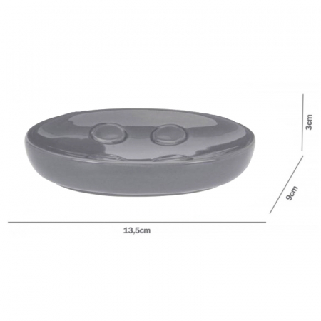 Set 3 piese pentru baie, din dolomita, Gri, 18x9 cm [3]