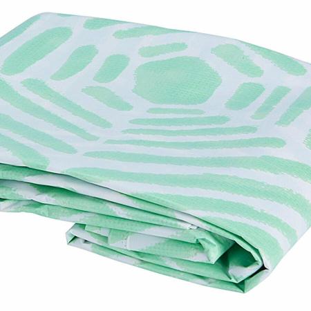 Set 3 piese pentru baie, recipient sapun, pahar periute dinti, ceramica, si perdea de dus cu 12 carlige, Verde [5]