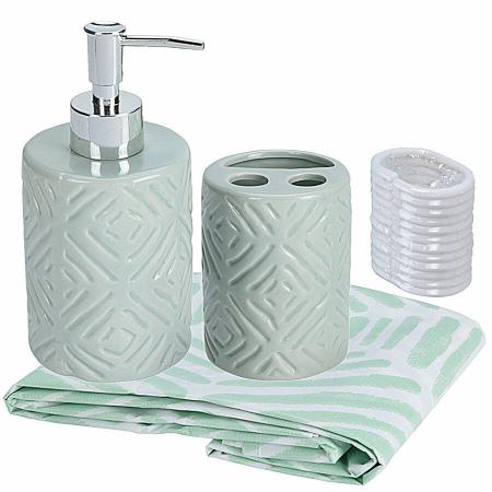 Set 3 piese pentru baie, recipient sapun, pahar periute dinti, ceramica, si perdea de dus cu 12 carlige, Verde [1]