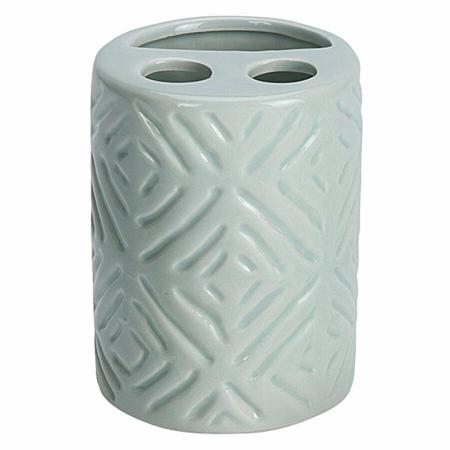 Set 3 piese pentru baie, recipient sapun, pahar periute dinti, ceramica, si perdea de dus cu 12 carlige, Verde [4]