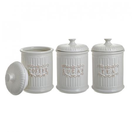 Set 3 recipiente pentru zahar, cafea, ceai, Portelan, culoare Alb, 11x17 cm [2]