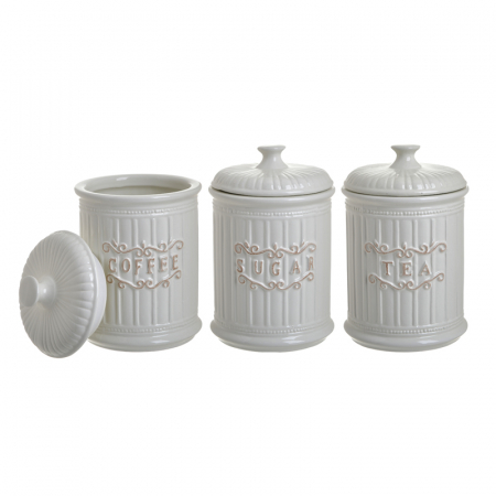 Set 3 recipiente pentru zahar, cafea, ceai, Portelan, culoare Alb, 11x17 cm [4]