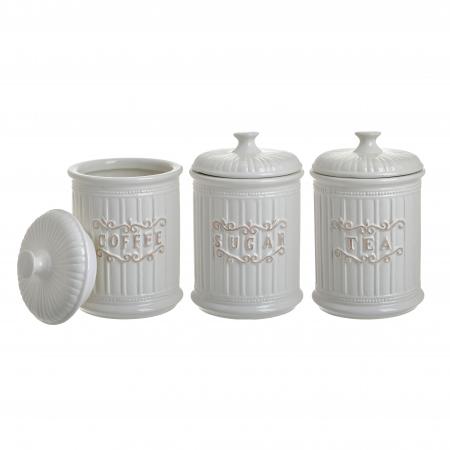 Set 3 recipiente pentru zahar, cafea, ceai, Portelan, culoare Alb, 11x17 cm [0]