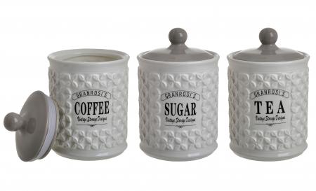 Set 3 recipiente portelan, pentru zahar, cafea, ceai, culoare alb fildes, diametru 12 cm inaltime 18 cm0