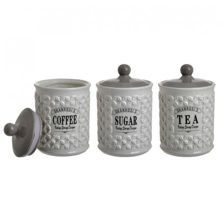 Set 3 recipiente portelan, pentru zahar, cafea, ceai, culoare alb fildes, diametru 12 cm inaltime 18 cm1