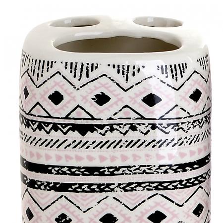 Set 4 piese pentru baie din ceramica cu model negru cu gri  25,5Χ21,5Χ8 cm2