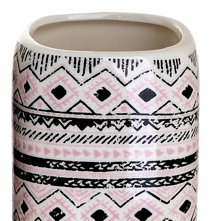 Set 4 piese pentru baie din ceramica cu model negru cu gri  25,5Χ21,5Χ8 cm3