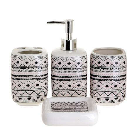 Set 4 piese pentru baie din ceramica cu model negru cu gri  25,5Χ21,5Χ8 cm0