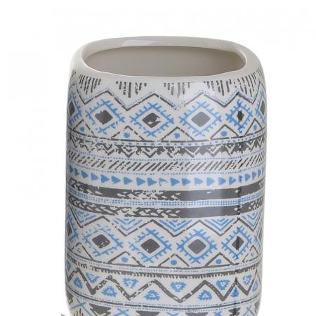 Set 4 piese pentru baie din ceramica cu model negru cu albastru  25,5Χ21,5Χ8 cm3