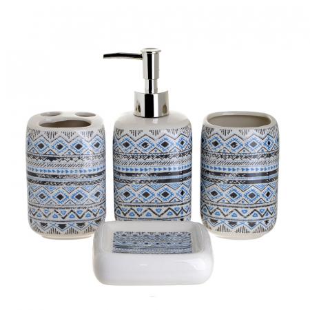 Set 4 piese pentru baie din ceramica cu model negru cu albastru  25,5Χ21,5Χ8 cm0
