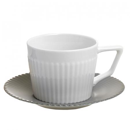 Set 6 cesti albe de ceai, cu farfurii gri, din portelan, cu suport, 200 ml1