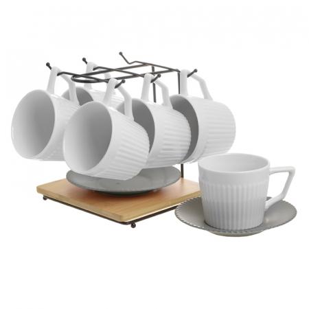 Set 6 cesti albe de ceai, cu farfurii gri, din portelan, cu suport, 200 ml8