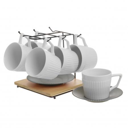 Set 6 cesti albe de ceai, cu farfurii gri, din portelan, cu suport, 200 ml2