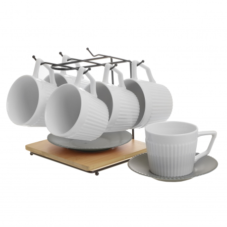 Set 6 cesti albe de ceai, cu farfurii gri, din portelan, cu suport, 200 ml0