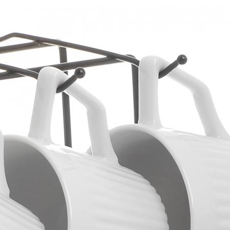Set 6 cesti albe de ceai, cu farfurii gri, din portelan, cu suport, 200 ml5
