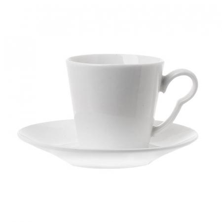 Set 6 cesti de cafea cu farfurie, din portelan, Alb, 100 ml1