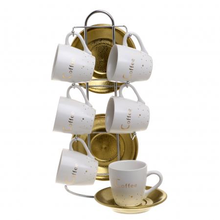 Set 6 cesti cafea portelan alb/auriu cu 6 farfurii aurii pe stand inox 15x9x290