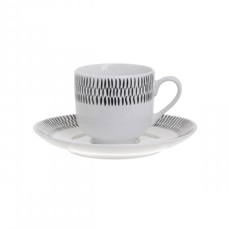 Set 6 cesti de Cafea cu farfurii, din portelan, culoare alb cu model negru, 90 ml [1]