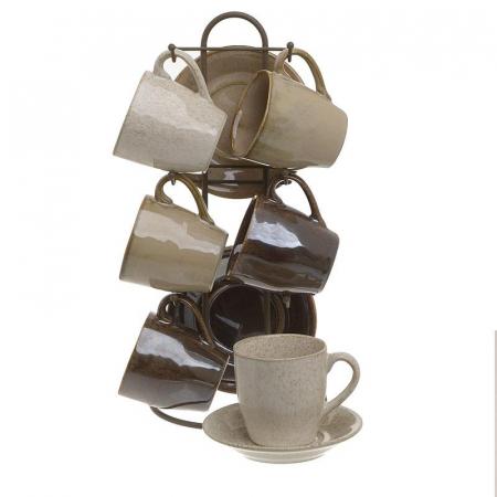 Set 6 cesti cafea si farfurii din portelan, culoarea bej si maro, 16X10X29 cm0