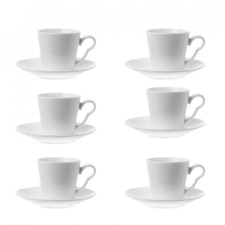 Set 6 cesti de cafea cu farfurie, din portelan, Alb, 100 ml0