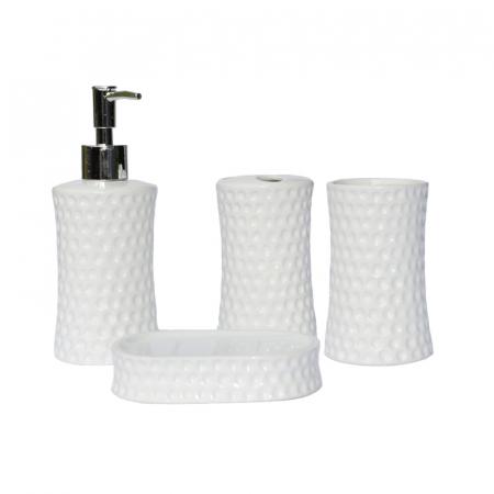 Set accesorii baie din ceramica model buline alb3