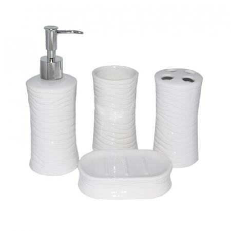 Set accesorii baie din ceramica  model valuri alb2