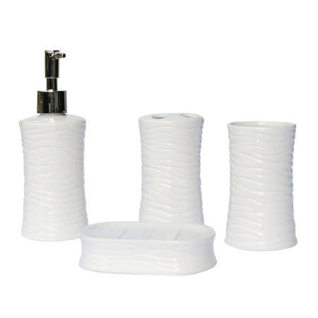 Set accesorii baie din ceramica  model valuri alb1