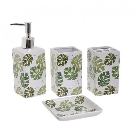 Set accesorii baie din ceramic, 4 piese, set ingrijire personala, model Alb/Verde, cu imprimeu Frunze Palmier1