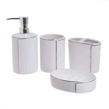 Set baie 4 piese din portelan alb cu dungi argintii1