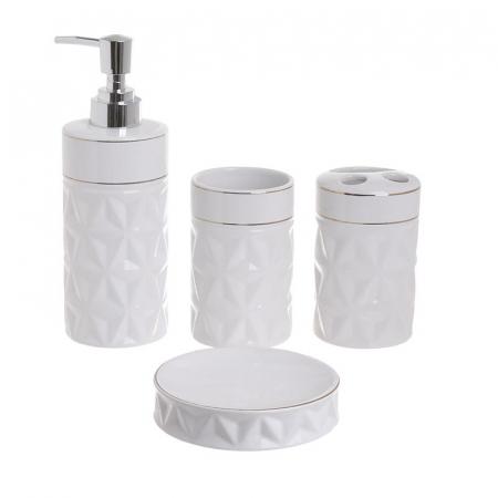Set baie 4 piese din portelan alb model fatetat cu dungi argintii0