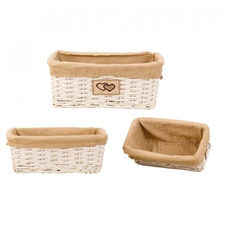 Set de 3 cosulete de paine, din rachita/textil, inaltime 15.5cm x 27.5-41cm culoare crem [0]