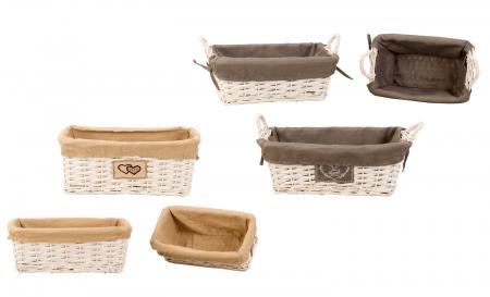 Set de 3 cosulete de paine, din rachita/textil, inaltime 15.5cm x 27.5-41cm culoare crem [1]